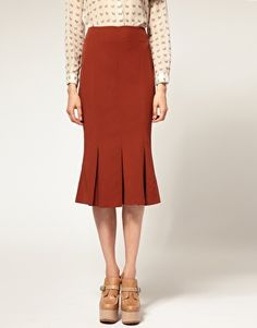 ASOS Pencil Skirt with Pleated Fishtail