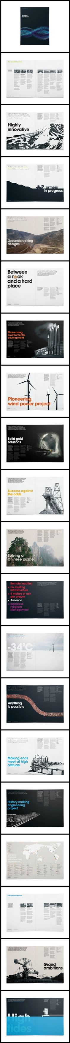 My kind of page layout: it lets the typography and photography speak for itself. There is absolutely zero clutter. // Ausenco by Chris Maclean Book Design Layout, Graphic Design Layouts, Print Layout, Brochure Design, Typography Layout, Graphic Design Typography, Graphic Design Illustration, Cv Inspiration, Graphic Design Inspiration