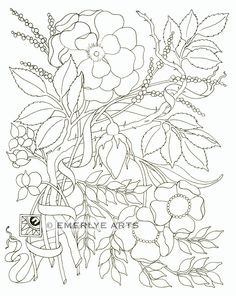 """""""Rosebud"""" line drawing, destined to be both a coloring page and a scratchboard engraving."""