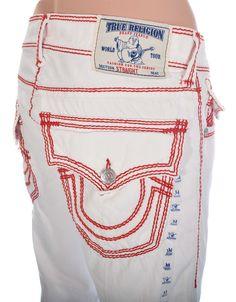 Mens White True Religion jeans Size 31 Mega T Straight with Flaps NWT $295 #TrueReligion #ClassicStraightLeg