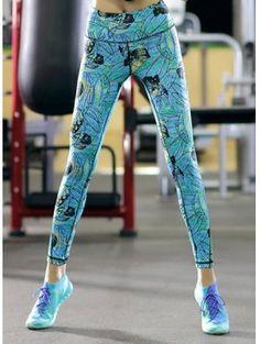 Printed Skinny Ankle Pants - Water Blue L