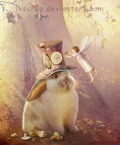 Now you never will be late again (by SoulcolorsArt) [Wonderland] Fantasy Creatures, Mythical Creatures, Fantasy World, Fantasy Art, Rabbit Art, Bunny Art, Beautiful Fairies, Jolie Photo, Fairy Art