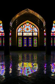 Stained glass windows, Nasir-ol-Molk Mosque, Shiraz, Iran by Babak Nikkhah Bahrami