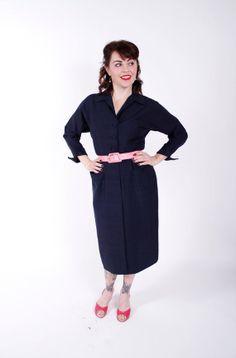 1950s Vintage Dress Designer Kilpatrick Navy Blue by stutterinmama, $198.00