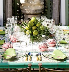 Like everything about this table - low centerpiece - wonderful colors and I love tables wide enough to have 2 place settings on the ends!