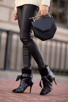 Helmut Langleather pants, Isabel Marant booties,M2Malletierhandbag