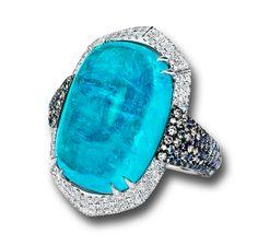 Brazilian Paraiba Tourmaline Ring designed by Martin Katz. Cabochon Paraiba Tourmaline, 21.28 carats; microset with sapphires, diamonds