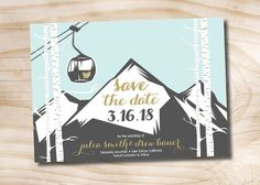 Gondola Mountain Wedding Save the Date  Perfect for your rustic ski resort wedding! The design features a mountain, birch trees and of course