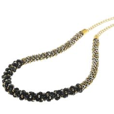 Deluxe Beaded Kumihimo Necklace - Black Tie - Exclusive Beadaholique Jewelry Kit Jewelry Making Kits, Jewelry Kits, I Love Jewelry, Fine Jewelry, Jewelry Ideas, Overhand Knot, Chain Nose Pliers, Black Gold Jewelry, Gold Fashion