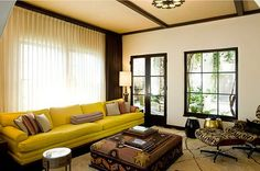 couch color, ottoman print, window treatment