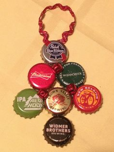 Beer Cap Tree Ornament. Christmas crafts with my brother's bucket of beer caps.