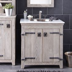 American-crafted from reclaimed wood, the Americana Vanity Cabinet Base in Driftwood has the character you want from your rustic bathroom vanity base. Solid wood bathroom vanities with soul. Rustic Bathroom Vanities, Single Sink Bathroom Vanity, Wooden Bathroom, Bath Vanities, Bathroom Furniture, Bathroom Interior, Rustic Bathrooms, 30 Vanity, Bathroom Ideas