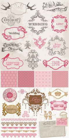 Wedding decor vector vector graphics vector illustrations set of vector vintage decorative wedding frames patterns badges and wedding embellishment elements for your invitation cards decorations etc junglespirit Image collections