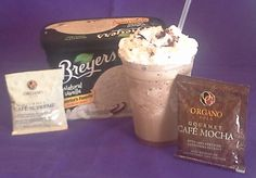 Frost Caramel Mocha Café Supreme Recipe  In a blender add 6 oz of water, add ice.  Then add contents of one ORGANO GOLD Mocha & one Cafe Supreme.  Scoop 1/3 to 1/2 cup of vanilla ice cream to blender.  Blend into a smoothie.  Add to your glass Hershey's Caramel syrup, squeeze onto bottom & sides.  Then fill with smoothie.  Add Whipped Cream to top & sprinkle with Hershey's Cocoa Powder.  Enjoy!  ~ Susan Endriss, Independent Consultant with ORGANO GOLD ~ 727-487-1701…