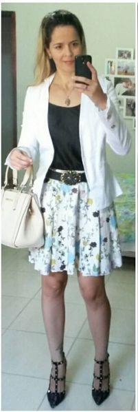 look de trabalho - look corporativo - blazer branco - estampa floral - look romântico