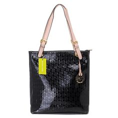 Michael Kors Monogram Mirror Metallic Large Black Totes.More than 60% Off, I enjoy these bags.It's pretty cool (: JUST CLICK IMAGE~   See more about michael kors, michael kors outlet and outlets.