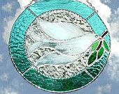 Handcrafted Aqua Peace Dove Stained Glass Sun Catcher - 9650-AQ