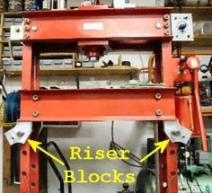 """H-Frame Press Height Adjuster by Dick Kostelnicek -- Homemade H-frame press height adjuster comprised of four aluminum riser blocks mounted on the frame. Provides adjustments at 1"""" increments. http://www.homemadetools.net/homemade-h-frame-press-height-adjuster"""
