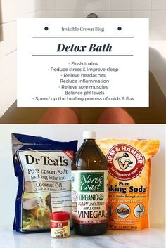 Detox Bath recipe with epsom salt apple cider vinegar baking soda and ginger. Flush toxins Reduce stress & improve sleep Relieve headaches Reduce inflammation Relieve sore muscles Balance pH levels Speed up the healing process of colds & flus Baking Soda Bath, Baking Soda Shampoo, Honey Shampoo, Hair Shampoo, Dry Shampoo, Bath Recipes, Detox Recipes, Detox Bath Recipe, Detox Bath Soak