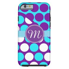 Custom Monogram Teal Purple Polka Dots iPhone Case Tough iPhone 6 Case
