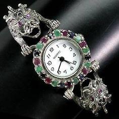 Relógio/Bracelete de Prata 925 com Esmeraldas, Rubis, Safiras e Marcassitas Naturais - Preciosa Joias Relogios de Ouro em Prata e Diamantes