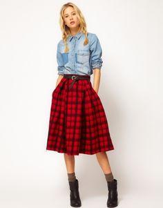 Red plaid skirt, chambray shirt.
