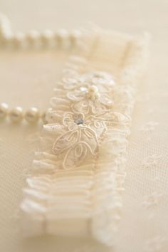 """""""Amour"""" bridal garter Atelier Rousseau look My Perfect Wedding, Dream Wedding, Vanilla Cream, French Vanilla, Winter Bride, Shades Of Beige, Pearl And Lace, Linens And Lace, Trends"""