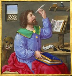 Mark the Evangelist. Book of hours, c. 1533, Ms. Rosenwald ms. 10, f. 10v. Geoffroy Tory, Touraine.