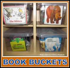 Book Bins in Kindergarten, Organized for Use with Manipulatives + Puppets.