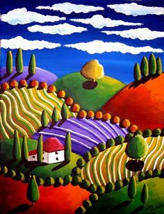 Whimsical Tuscan Colorful Landscape Folk Art Painting via Etsy