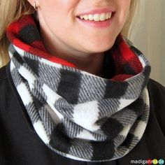 How to Sew a Reversible Cowl Scarf--crafter used two inexpensive scarves from the dollar store to create this funky and warm accessory