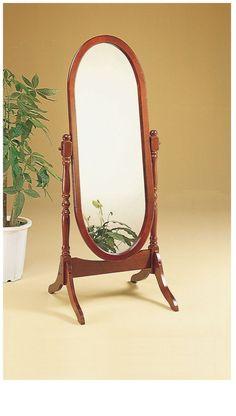 Walnut Oval Cheval Mirror