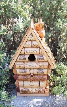 Peak House birdhouse, wood and wine corks. $44.95, via Etsy.