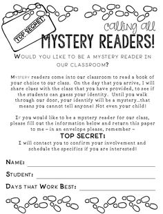 Resource pack for implementing a mystery readers program in your classroom! 3rd Grade Classroom, Kindergarten Classroom, Classroom Ideas, Future Classroom, Classroom Organization, Letter To Parents, Parents As Teachers, Beginning Of The School Year, New School Year