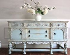 Antique Ornate Jacobean Hand Painted French Country Shabby Chic Romantic Victorian Pastel Blue Green Aqua Buffet