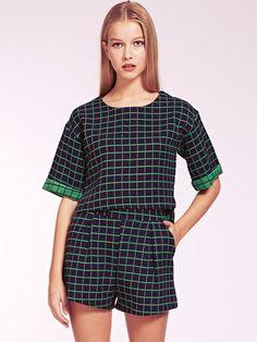 Dahlia Tammy Grid Pattern Top & Shorts Set with Contrast Detail | Dahlia