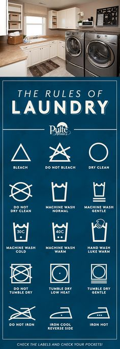 Take the confusion out of laundry and your clothing laundry labels! Our printable guide to laundry decodes and helps you protect your delicates and explains which detergent to use with different fabrics. | Pulte Homes