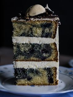 Easy vanilla layer cake with blueberry and cinnamon swirls. The sponge is soft and moderately moist, with that sweet vanilla flavour. I think blueberry and cinnamon combination played really well here both in taste (some of the berries were still whole and created that nice juicy pop when having a slice, and addition of flavourful cinnamon went well with it) and in looks - be ready for the wow-effect when you cut a first slice