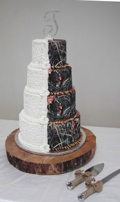 Half Bridal White and Half Camo Wedding Cake