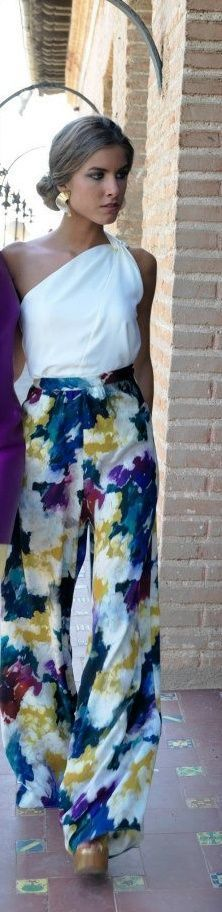 Floral gaucho with a classy feminine side knot top. Love this look? Visit our site for more fashion! www.dibwa.com 'For the Classy Wild Child' ~ !