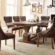 Atelier Traditional French Burnished Brown Pedestal Extending Dining Table | Overstock.com Shopping - The Best Deals on Dining Tables