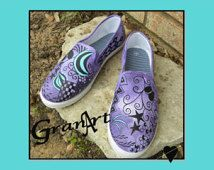 Sabrina Canvas Shoes, Hand Painted Shoes, Painted Shoes, Zentangle Shoes, Purple Shoes, Canvas Shoes, Turquoise, Slip On Shoes, Tennis Shoes
