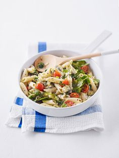 Penne with Blue Cheese, Tomatoes, and Spinach  - Delish.com