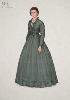 'Little Women' costume designer loosens up the Victorian era - Los Angeles Times Victorian Era Dresses, Victorian Costume, Victorian Fashion, Victorian Gothic, Gothic Lolita, Emma Watson, Meg March, Costume Design Sketch, Civil War Dress
