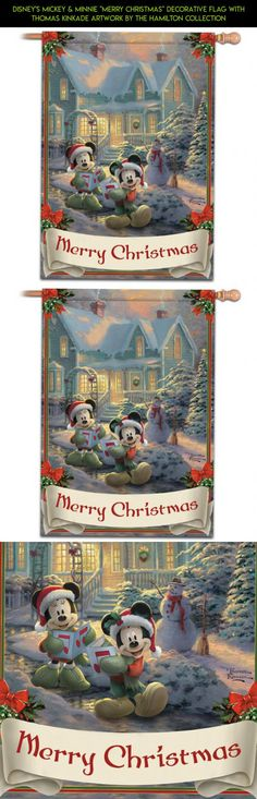 """Disney's Mickey & Minnie """"Merry Christmas"""" Decorative Flag With Thomas Kinkade Artwork by The Hamilton Collection #products #camera #disney #tech #parts #decor #technology #fpv #outdoor #kit #shopping #plans #racing #drone #gadgets"""