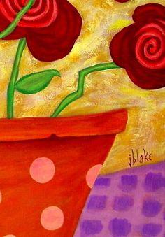 Modern Folk Art ROSES Original ABSTRACT by johnblakefolkartist John Blake, Tea Bag Art, Bright Art, Art Deco Posters, Abstract Flowers, Abstract Art, Arte Popular, Naive Art, Canvas Crafts