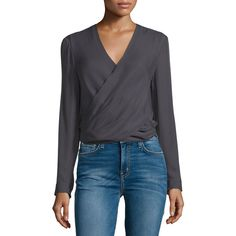 L'Agence Gia Long-Sleeve Silk Wrap Blouse ($345) ❤ liked on Polyvore featuring tops, blouses, grey, wrap blouse, keyhole blouse, v-neck pullover, gray silk blouse and long sleeve wrap top
