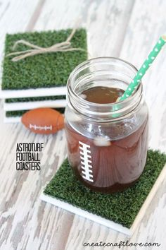 DIY astroturf coasters are perfect for the sports-loving dad.