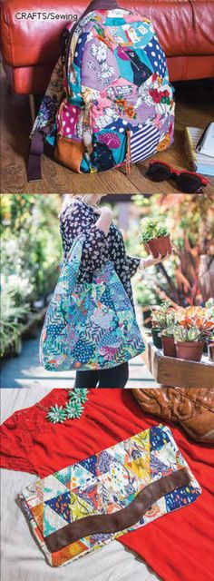 Turn simple patchwork into 15 trendy, everyday bags. Fun to quilt and carry. Use…