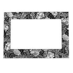 William Morris Floral Black White & Gray / Grey Magnetic Photo Frame - black and white gifts unique special b&w style